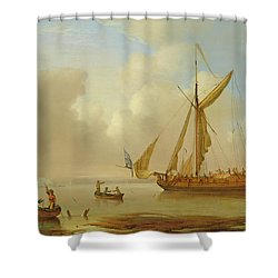 Royal Yacht Becalmed At Anchor Shower Curtain by  Peter Monamy