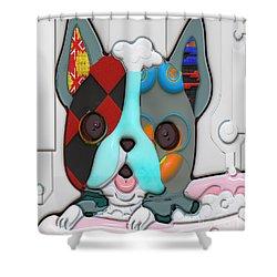 Rub A Dub Dub Puppy In A Tub Shower Curtain by Liane Wright