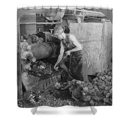 Shower Curtain featuring the painting Rubber Production, C1928 by Granger