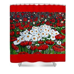 Rubies And Pearls Shower Curtain by Jackie Carpenter