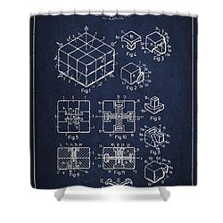 Rubiks Cube Patent Shower Curtain by Aged Pixel