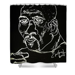 Shower Curtain featuring the drawing Rubin Hurricane Carter by Rand Swift