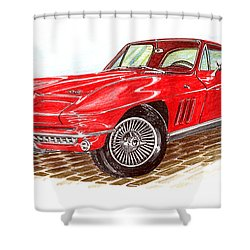 Ruby Red 1966 Corvette Stingray Fastback Shower Curtain