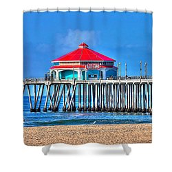 Ruby's Surf City Diner - Huntington Beach Pier Shower Curtain