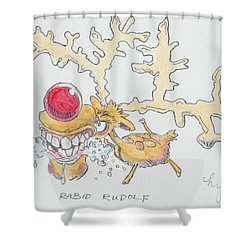 Rudolph The Reindeer Cartoon Shower Curtain
