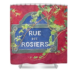 Shower Curtain featuring the painting Rue Des Rosiers In Paris by Mary Ellen Mueller Legault