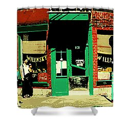 Rue Fairmount Wilensky Diner Cafe Feeding The Parking Meter Montreal Street Scene Carole Spandau Shower Curtain by Carole Spandau