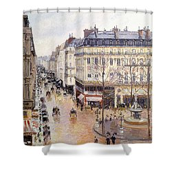 Rue Saint Honore Afternoon Rain Effect Shower Curtain by Camille Pissarro