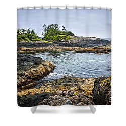 Rugged Coast Of Pacific Ocean On Vancouver Island Shower Curtain by Elena Elisseeva