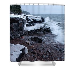 Rugged Shore Winter Shower Curtain by James Peterson