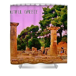 Ruins At Olympus Greece Shower Curtain by John Malone