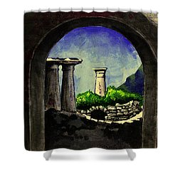 Shower Curtain featuring the painting Ruins by Salman Ravish