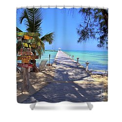 Rum Point Shower Curtain by Carey Chen