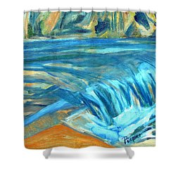 Shower Curtain featuring the painting Run River Run Over Rocks In The Sun by Betty Pieper