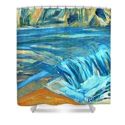Run River Run Over Rocks In The Sun Shower Curtain by Betty Pieper