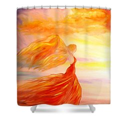 Shower Curtain featuring the painting Running Along The Beach by Lilia D