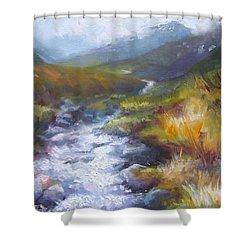 Running Down - Landscape View From Hatcher Pass Shower Curtain by Talya Johnson