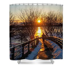 Running In Sunset Shower Curtain