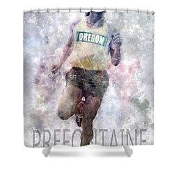 Running Legend Steve Prefontaine Shower Curtain by Daniel Hagerman