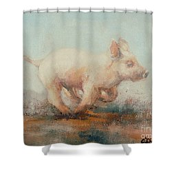 Running Piglet Shower Curtain by Ellie O Shea