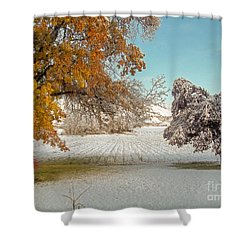 Rural Early Snow In Western Colorado  Shower Curtain