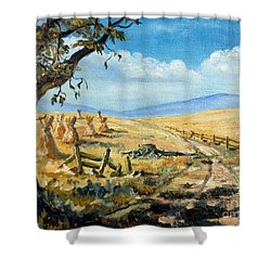 Rural Farmland Americana Folk Art Autumn Harvest Ranch Shower Curtain by Lee Piper