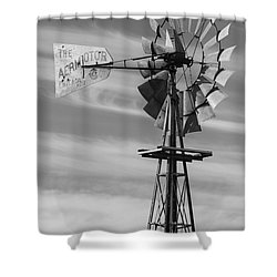 Rural Nebraska Windmill Shower Curtain