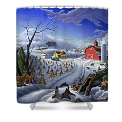 Rural Winter Country Farm Life Landscape - Square Format Shower Curtain