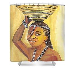 Rural Woman From Cameroon Shower Curtain by Emmanuel Baliyanga