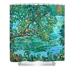 Rushing Water Shower Curtain by Kendall Kessler