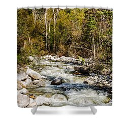 Rushing Water Shower Curtain by Sue Smith