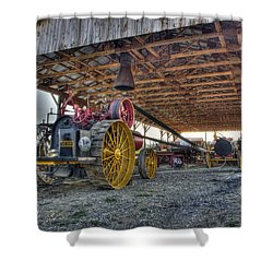 Russell At The Saw Mill Shower Curtain by Shelly Gunderson