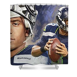Russell Wilson Artwork Shower Curtain