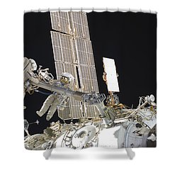 Russian Cosmonauts Working Shower Curtain by Stocktrek Images