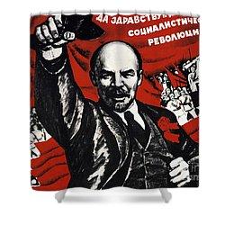 Russian Revolution October 1917 Vladimir Ilyich Lenin Ulyanov  1870 1924 Russian Revolutionary Shower Curtain by Anonymous