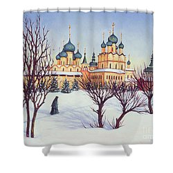 Russian Winter Shower Curtain by Tilly Willis