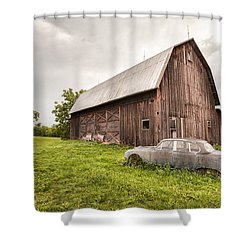 Shower Curtain featuring the photograph Rustic Art - Old Car And Barn by Gary Heller