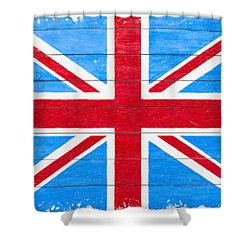 Rustic British Union Jack - Vintage Flag Shower Curtain by Mark E Tisdale