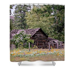 Rustic Cabin In The Mountains Shower Curtain by Athena Mckinzie