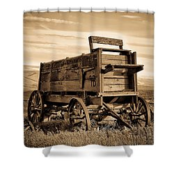 Rustic Covered Wagon Shower Curtain by Athena Mckinzie