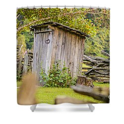 Rustic Fence And Outhouse Shower Curtain