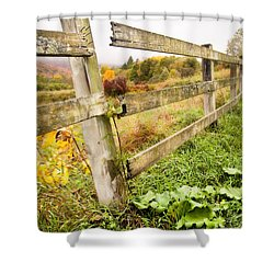 Rustic Landscapes - Broken Fence Shower Curtain by Gary Heller