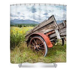 Rustic Landscapes - Wagon And Wildflowers Shower Curtain by Gary Heller