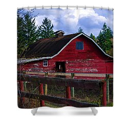 Shower Curtain featuring the photograph Rustic Old Horse Barn by Jordan Blackstone