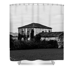 Rustic Outbuildings In A Field  Shower Curtain