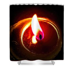 Rustic Red Candle Candlelit Flame Shower Curtain