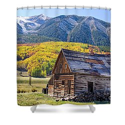 Rustic Rural Colorado Cabin Autumn Landscape Shower Curtain by James BO  Insogna