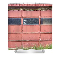 Rustic Rural Red Garage Door Shower Curtain by James BO  Insogna