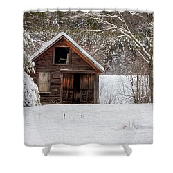 Rustic Shack In Snow Shower Curtain