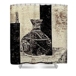 Rustic Vase Black And White Shower Curtain